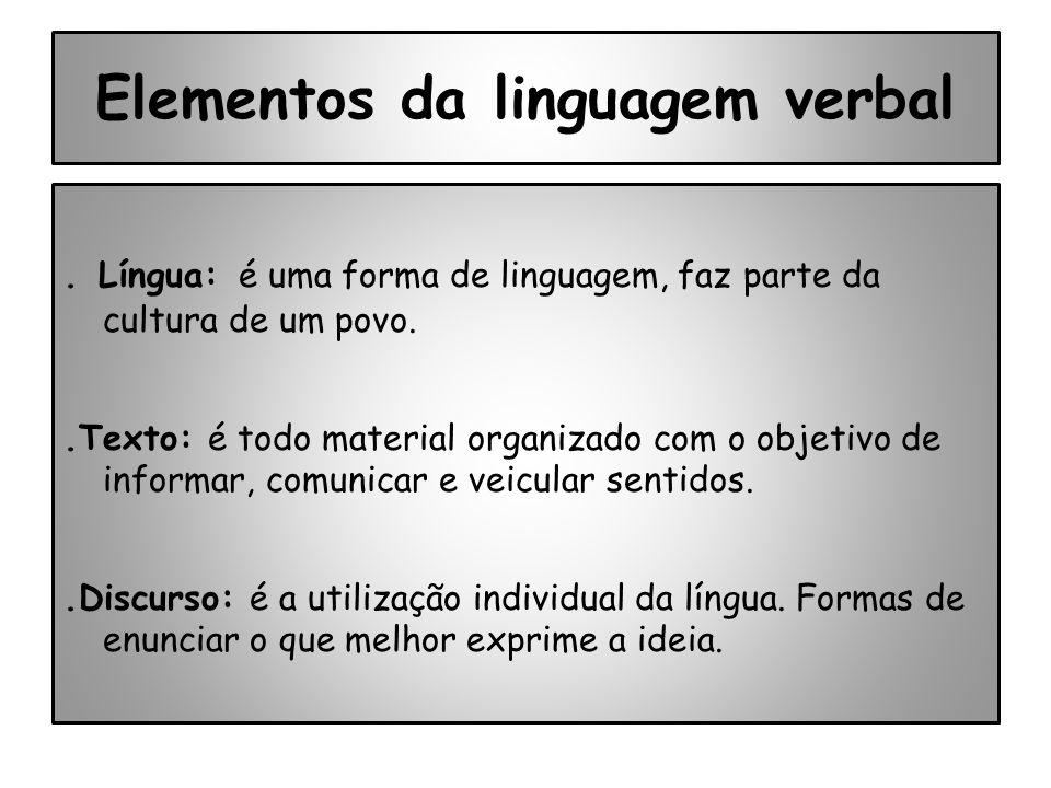 Elementos da linguagem verbal. Língua: é uma forma de linguagem, faz parte da cultura de um povo..Texto: é todo material organizado com o objetivo de
