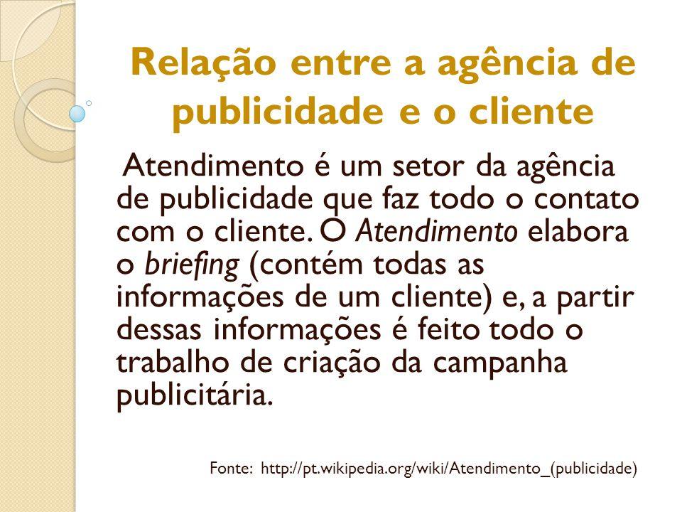 Relação entre a agência de publicidade e o cliente Atendimento é um setor da agência de publicidade que faz todo o contato com o cliente. O Atendiment