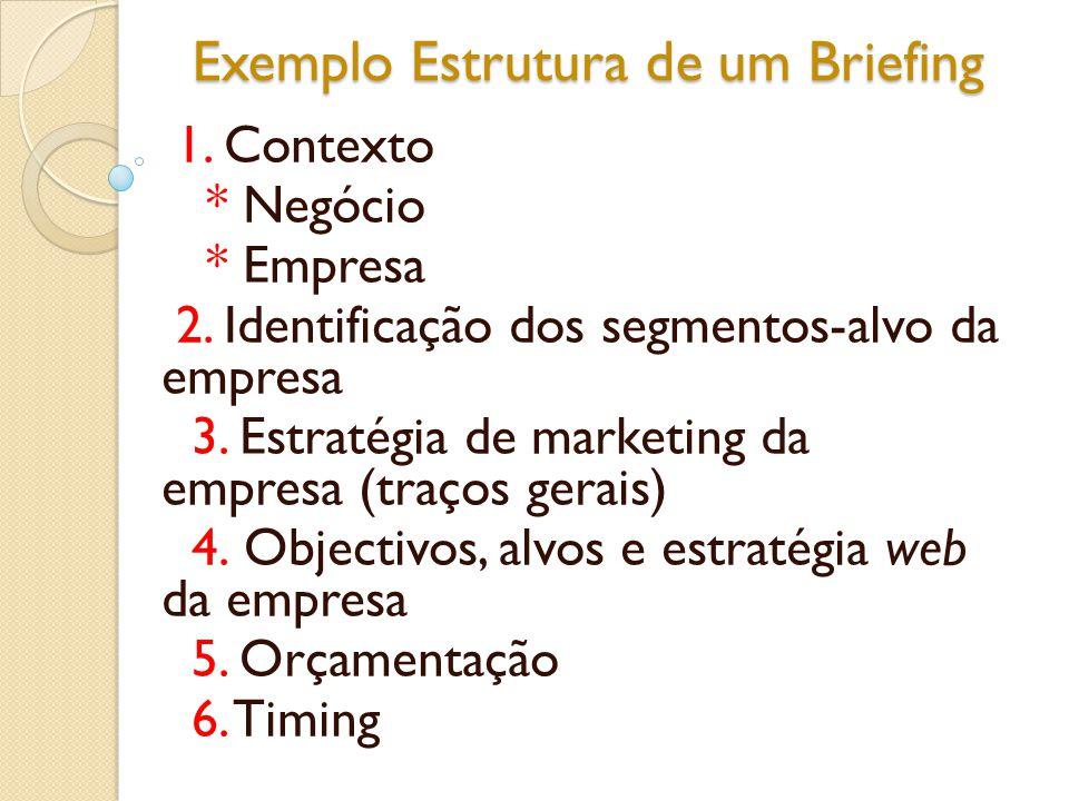 Exemplo Estrutura de um Briefing 1. Contexto * Negócio * Empresa 2. Identificação dos segmentos-alvo da empresa 3. Estratégia de marketing da empresa