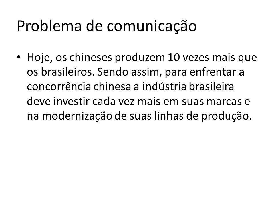 Problema de comunicação Hoje, os chineses produzem 10 vezes mais que os brasileiros. Sendo assim, para enfrentar a concorrência chinesa a indústria br
