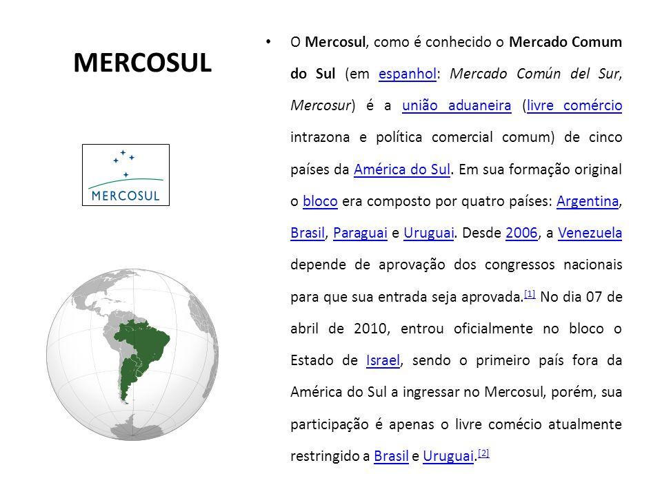 MERCOSUL O Mercosul, como é conhecido o Mercado Comum do Sul (em espanhol: Mercado Común del Sur, Mercosur) é a união aduaneira (livre comércio intraz
