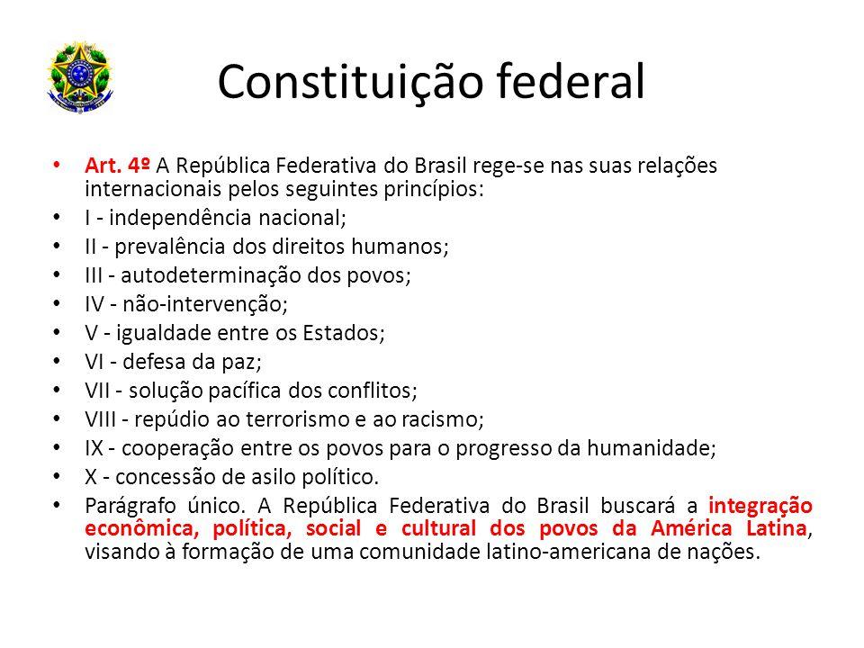 Constituição federal Art. 4º A República Federativa do Brasil rege-se nas suas relações internacionais pelos seguintes princípios: I - independência n