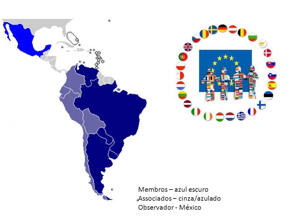 Membros – azul escuro Associados – cinza/azulado Observador - México