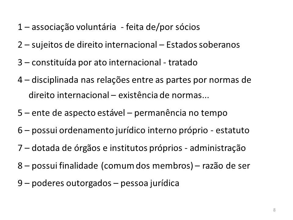 8 1 – associação voluntária - feita de/por sócios 2 – sujeitos de direito internacional – Estados soberanos 3 – constituída por ato internacional - tratado 4 – disciplinada nas relações entre as partes por normas de direito internacional – existência de normas...