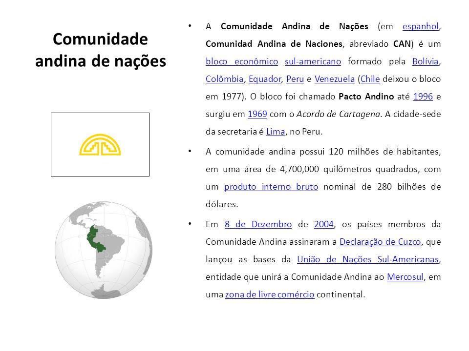Comunidade andina de nações A Comunidade Andina de Nações (em espanhol, Comunidad Andina de Naciones, abreviado CAN) é um bloco econômico sul-americano formado pela Bolívia, Colômbia, Equador, Peru e Venezuela (Chile deixou o bloco em 1977).