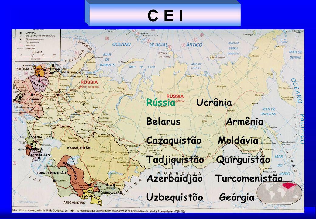C E I Rússia Ucrânia Belarus Armênia Cazaquistão Moldávia Tadjiquistão Quirguistão Azerbaidjão Turcomenistão Uzbequistão Geórgia