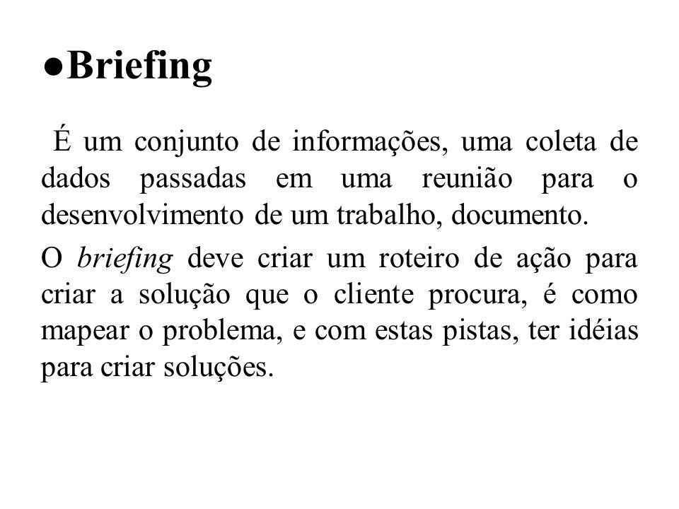 Briefing É um conjunto de informações, uma coleta de dados passadas em uma reunião para o desenvolvimento de um trabalho, documento.