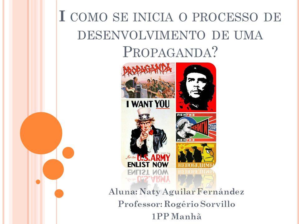 I COMO SE INICIA O PROCESSO DE DESENVOLVIMENTO DE UMA P ROPAGANDA .