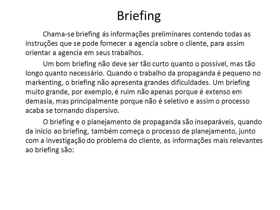 Briefing Chama-se briefing ás informações preliminares contendo todas as instruções que se pode fornecer a agencia sobre o cliente, para assim orienta
