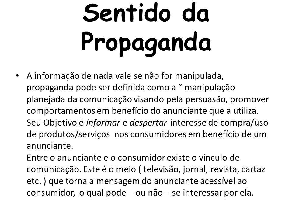 Sentido da Propaganda A informação de nada vale se não for manipulada, propaganda pode ser definida como a manipulação planejada da comunicação visand