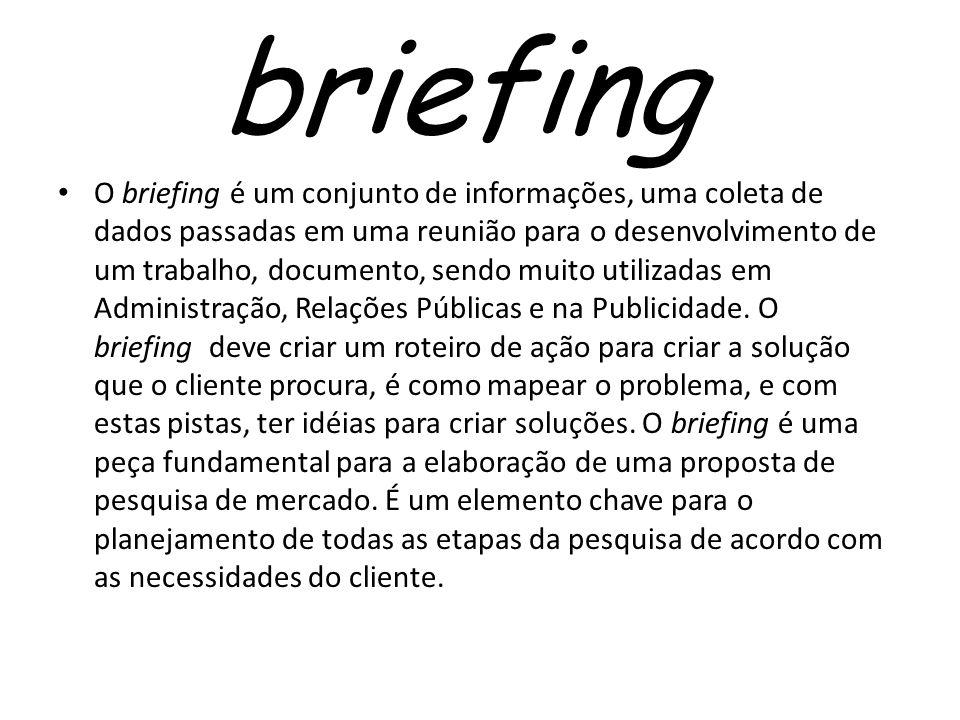 briefing O briefing é um conjunto de informações, uma coleta de dados passadas em uma reunião para o desenvolvimento de um trabalho, documento, sendo