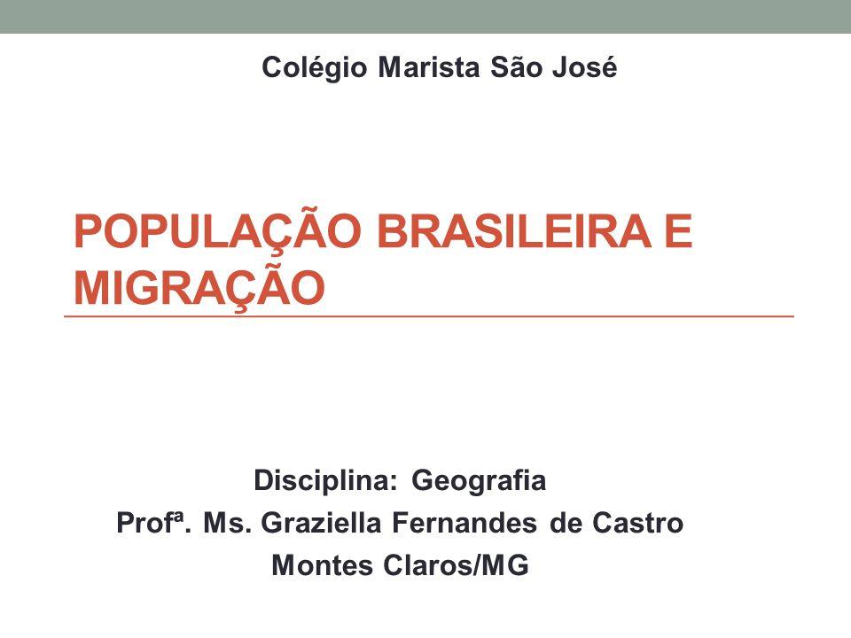 POPULAÇÃO BRASILEIRA E MIGRAÇÃO Disciplina: Geografia Profª. Ms. Graziella Fernandes de Castro Montes Claros/MG Colégio Marista São José