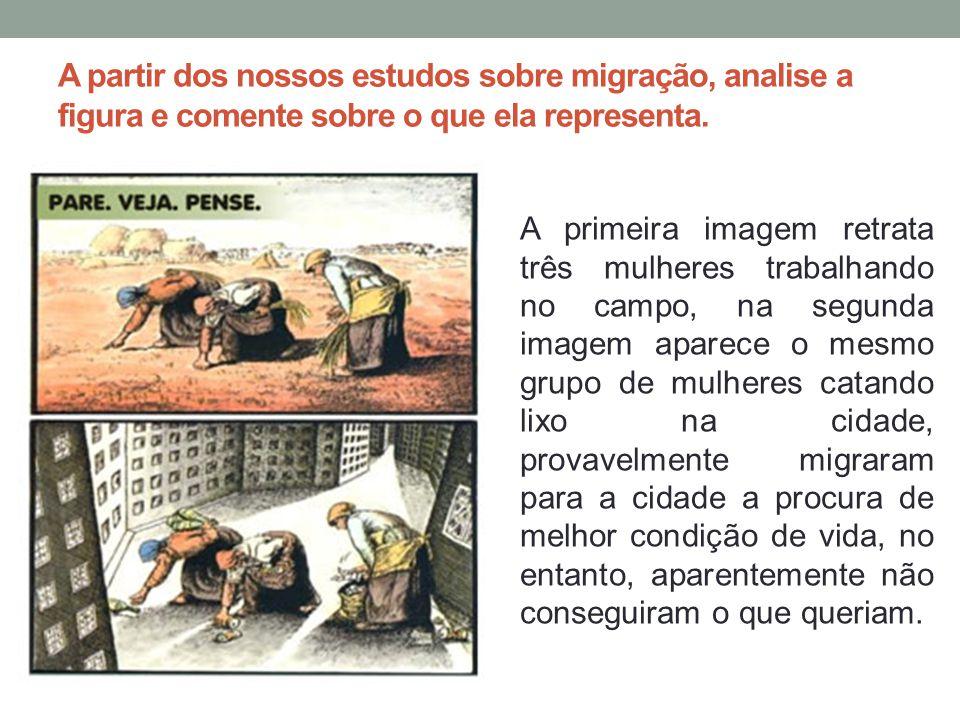 A partir dos nossos estudos sobre migração, analise a figura e comente sobre o que ela representa. A primeira imagem retrata três mulheres trabalhando
