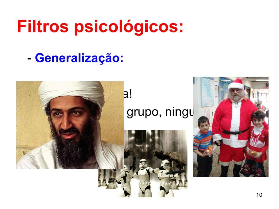 10 Filtros psicológicos: - Generalização: Ele não presta! Logo, naquele grupo, ninguém presta!