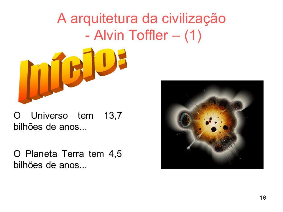 16 A arquitetura da civilização - Alvin Toffler – (1) O Universo tem 13,7 bilhões de anos...