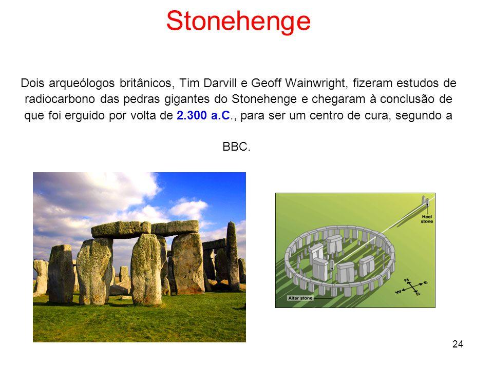 24 Stonehenge Dois arqueólogos britânicos, Tim Darvill e Geoff Wainwright, fizeram estudos de radiocarbono das pedras gigantes do Stonehenge e chegaram à conclusão de que foi erguido por volta de 2.300 a.C., para ser um centro de cura, segundo a BBC.