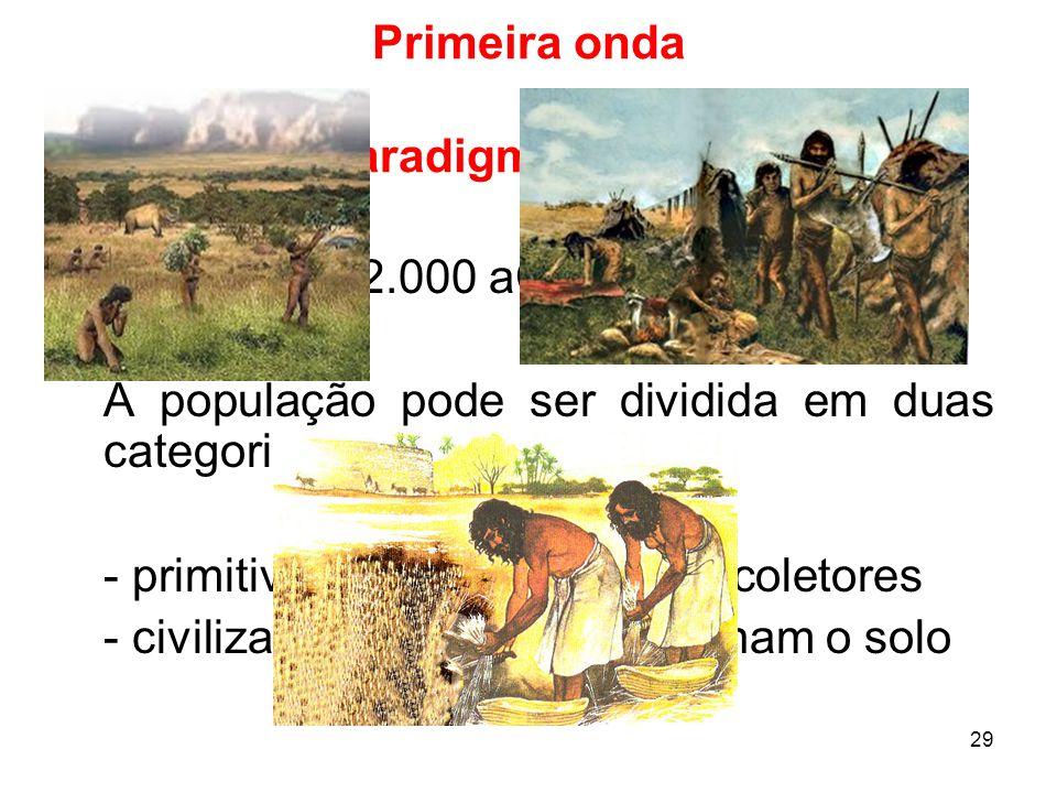 29 Primeira onda Paradigma agrário No tempo: 12.000 aC até 1.700 dC (?).