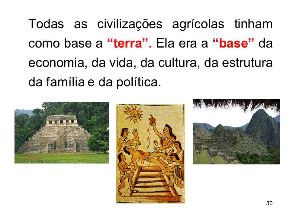 30 Todas as civilizações agrícolas tinham como base a terra.