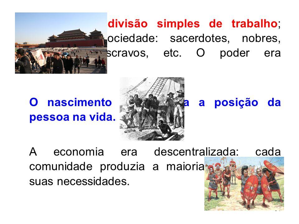 31 Prevalecia a divisão simples de trabalho; divisão da sociedade: sacerdotes, nobres, guerreiros, escravos, etc.