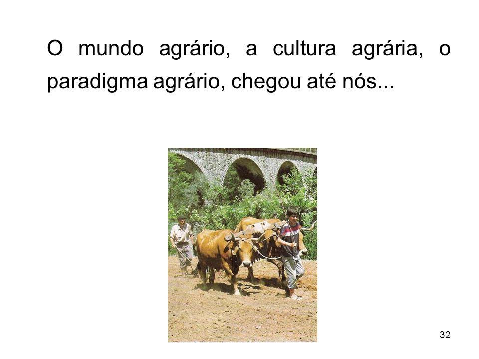 32 O mundo agrário, a cultura agrária, o paradigma agrário, chegou até nós...