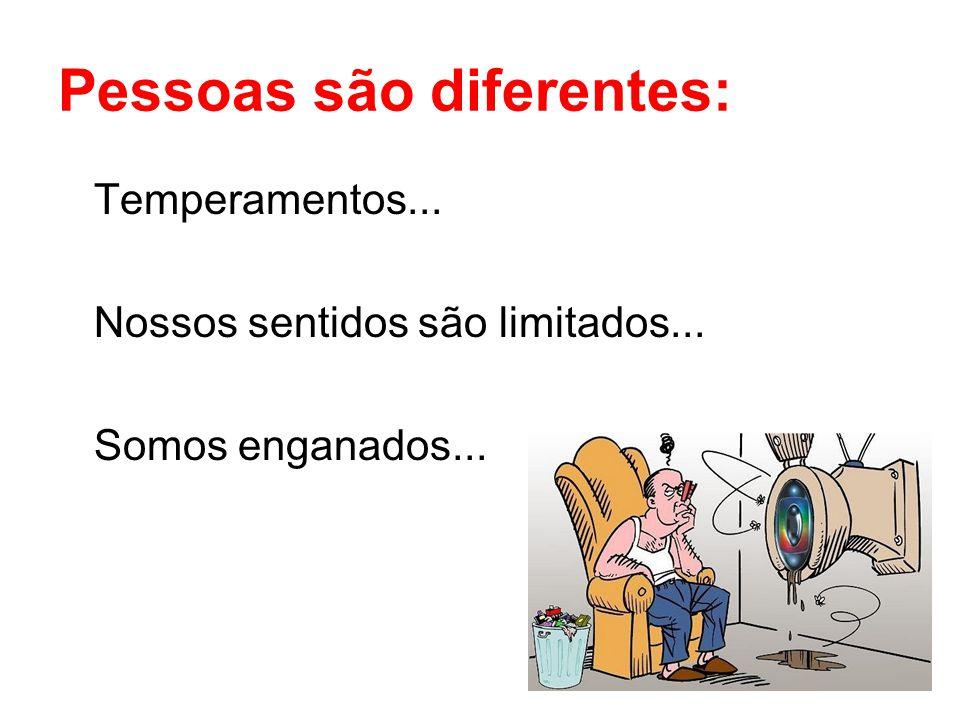 6 Pessoas são diferentes: Temperamentos... Nossos sentidos são limitados... Somos enganados...