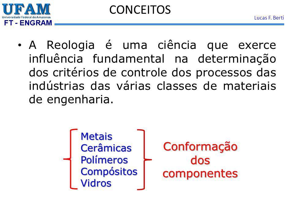 FT - ENGRAM Lucas F. Berti CONCEITOS A Reologia é uma ciência que exerce influência fundamental na determinação dos critérios de controle dos processo