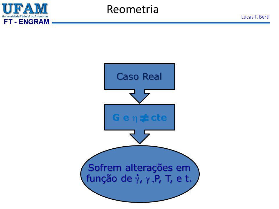 FT - ENGRAM Lucas F. Berti Reometria Caso Real G e cte Sofrem alterações em função de, P, T, e t.