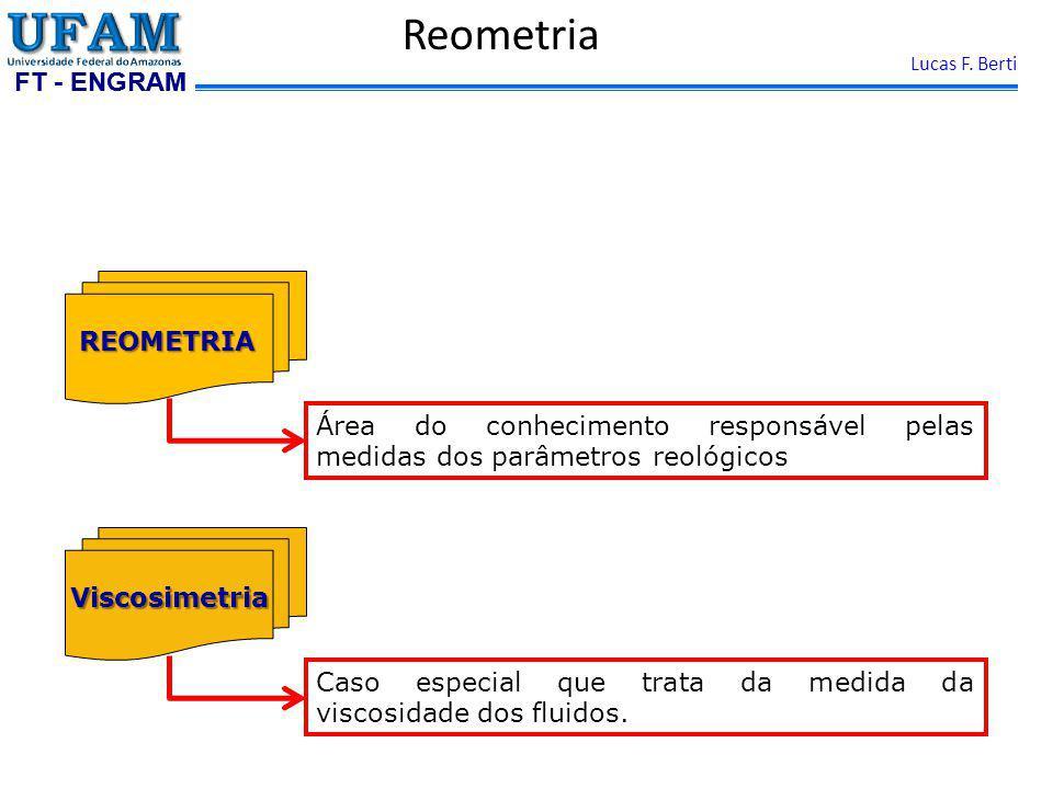 FT - ENGRAM Lucas F. Berti ReometriaViscosimetria Caso especial que trata da medida da viscosidade dos fluidos. REOMETRIA Área do conhecimento respons