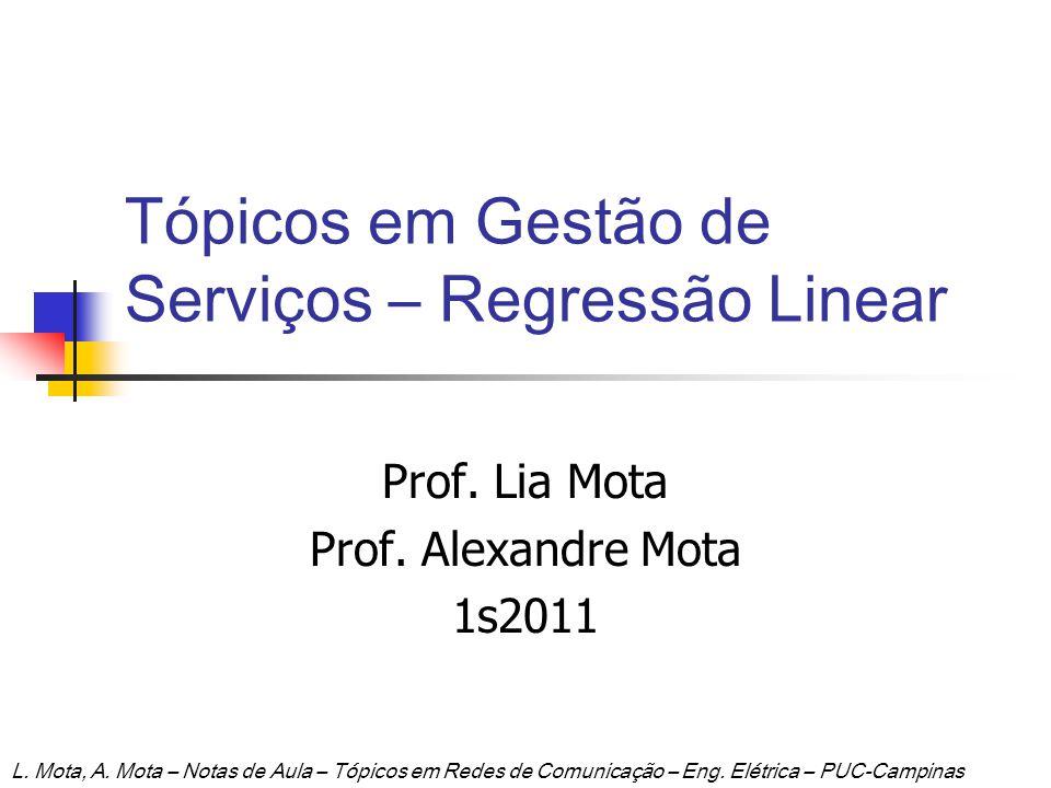 Tópicos em Gestão de Serviços – Regressão Linear Prof. Lia Mota Prof. Alexandre Mota 1s2011 L. Mota, A. Mota – Notas de Aula – Tópicos em Redes de Com