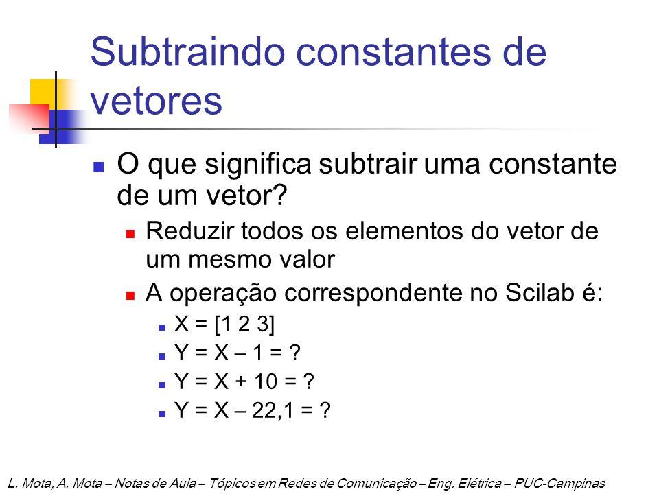Subtraindo constantes de vetores O que significa subtrair uma constante de um vetor? Reduzir todos os elementos do vetor de um mesmo valor A operação