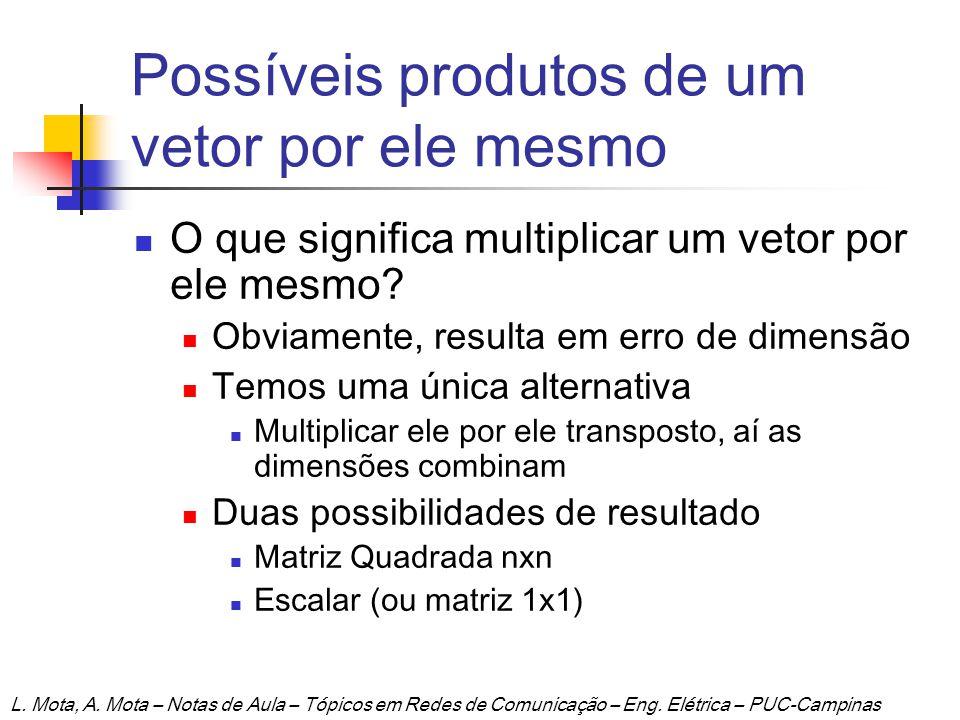 Possíveis produtos de um vetor por ele mesmo O que significa multiplicar um vetor por ele mesmo? Obviamente, resulta em erro de dimensão Temos uma úni