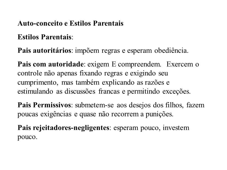 Auto-conceito e Estilos Parentais Estilos Parentais: Pais autoritários: impõem regras e esperam obediência. Pais com autoridade: exigem E compreendem.