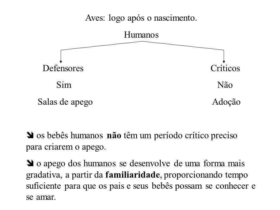 Aves: logo após o nascimento. Humanos Defensores Críticos Sim Não Salas de apego Adoção os bebês humanos não têm um período crítico preciso para criar