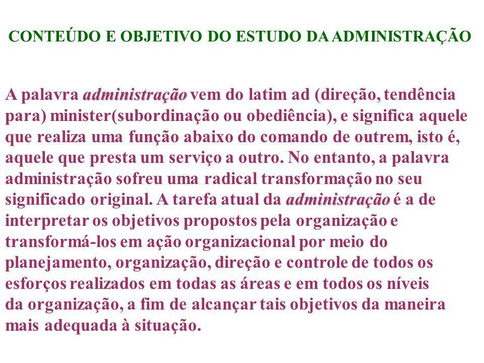 CONTEÚDO E OBJETIVO DO ESTUDO DA ADMINISTRAÇÃO administração administração A palavra administração vem do latim ad (direção, tendência para) minister(