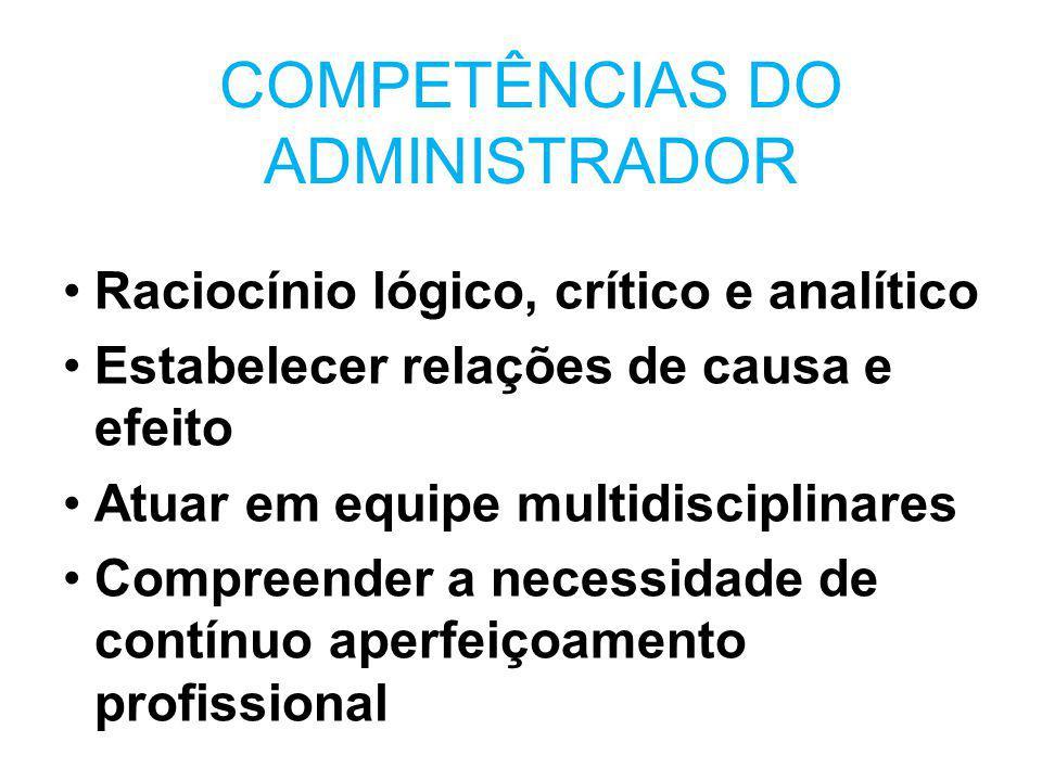 COMPETÊNCIAS DO ADMINISTRADOR Raciocínio lógico, crítico e analítico Estabelecer relações de causa e efeito Atuar em equipe multidisciplinares Compree