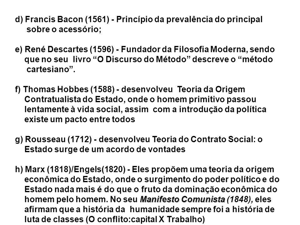 d) Francis Bacon (1561) - Princípio da prevalência do principal sobre o acessório; e) René Descartes (1596) - Fundador da Filosofia Moderna, sendo que no seu livro O Discurso do Método descreve o método cartesiano.