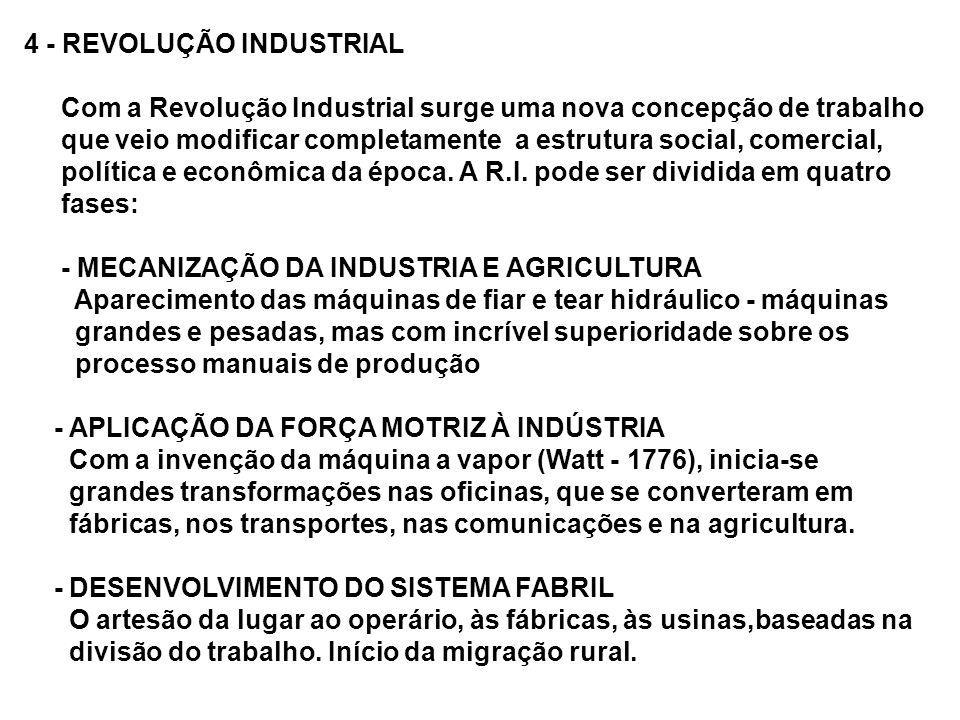 4 - REVOLUÇÃO INDUSTRIAL Com a Revolução Industrial surge uma nova concepção de trabalho que veio modificar completamente a estrutura social, comercia