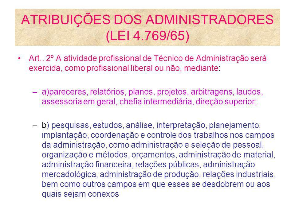 ATRIBUIÇÕES DOS ADMINISTRADORES (LEI 4.769/65) Art.. 2º A atividade profissional de Técnico de Administração será exercida, como profissional liberal