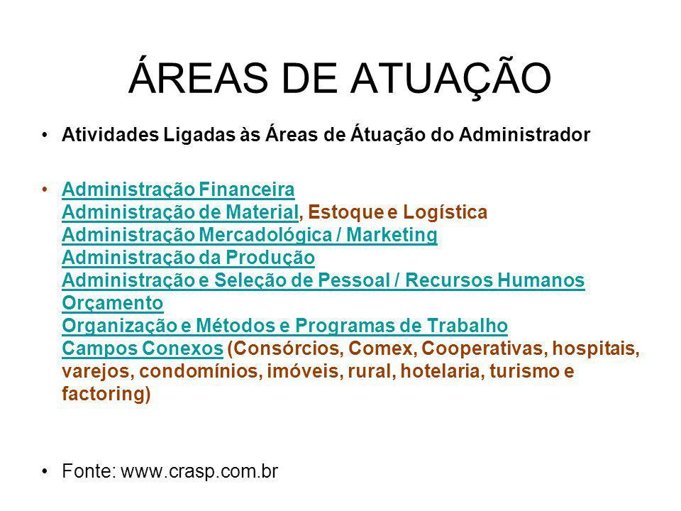 ÁREAS DE ATUAÇÃO Atividades Ligadas às Áreas de Átuação do Administrador Administração Financeira Administração de Material, Estoque e Logística Admin
