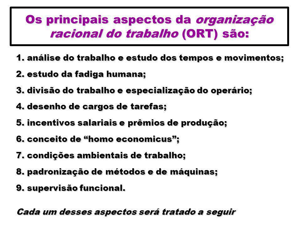 Os principais aspectos da organização racional do trabalho (ORT) são: 1. análise do trabalho e estudo dos tempos e movimentos; 2. estudo da fadiga hum