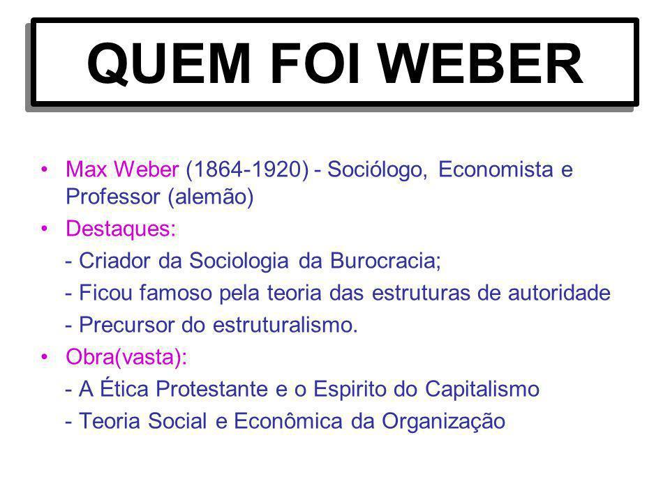 QUEM FOI WEBER Max Weber (1864-1920) - Sociólogo, Economista e Professor (alemão) Destaques: - Criador da Sociologia da Burocracia; - Ficou famoso pel