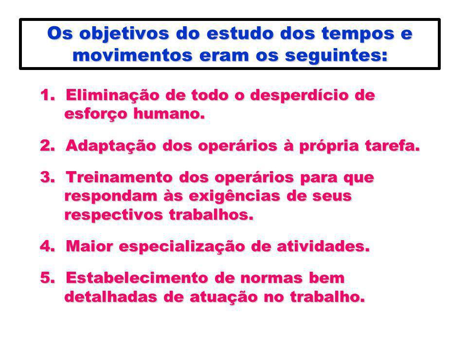 Os objetivos do estudo dos tempos e movimentos eram os seguintes: 1. Eliminação de todo o desperdício de esforço humano. 2. Adaptação dos operários à