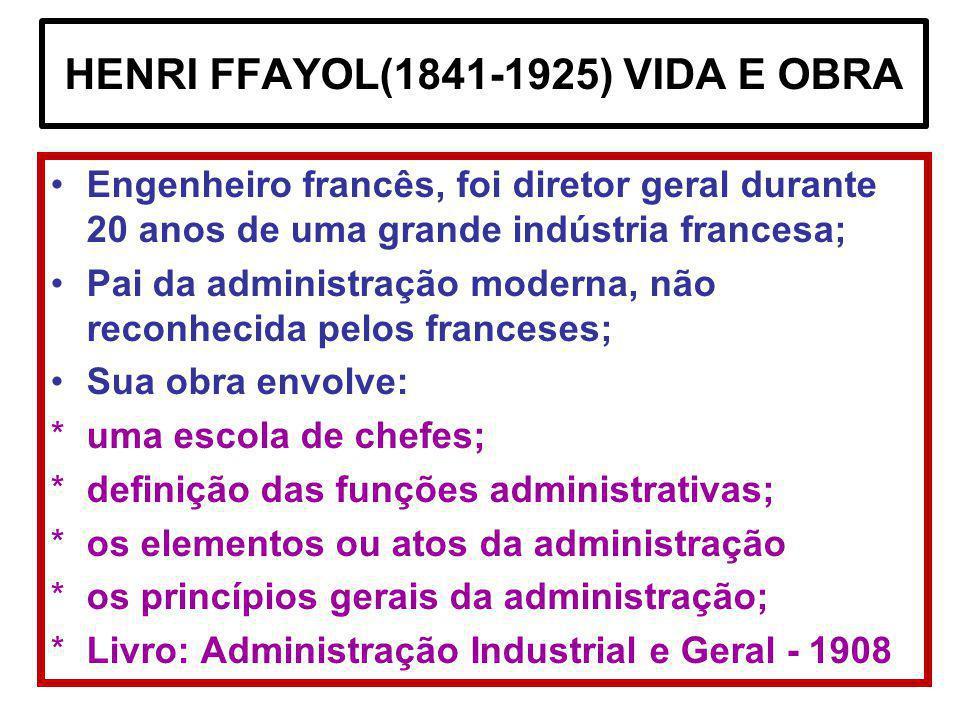 HENRI FFAYOL(1841-1925) VIDA E OBRA Engenheiro francês, foi diretor geral durante 20 anos de uma grande indústria francesa; Pai da administração moder