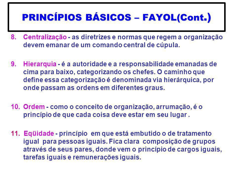 8.Centralização - as diretrizes e normas que regem a organização devem emanar de um comando central de cúpula. 9.Hierarquia - é a autoridade e a respo