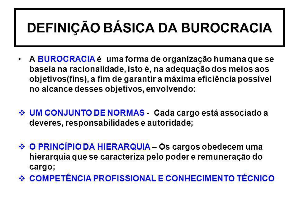 DEFINIÇÃO BÁSICA DA BUROCRACIA A BUROCRACIA é uma forma de organização humana que se baseia na racionalidade, isto é, na adequação dos meios aos objet