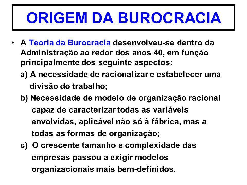 ORIGEM DA BUROCRACIA A Teoria da Burocracia desenvolveu-se dentro da Administração ao redor dos anos 40, em função principalmente dos seguinte aspecto