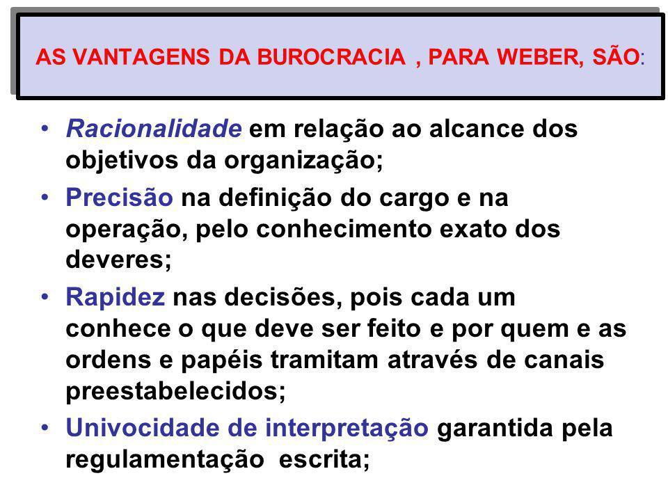 AS VANTAGENS DA BUROCRACIA, PARA WEBER, SÃO: Racionalidade em relação ao alcance dos objetivos da organização; Precisão na definição do cargo e na ope
