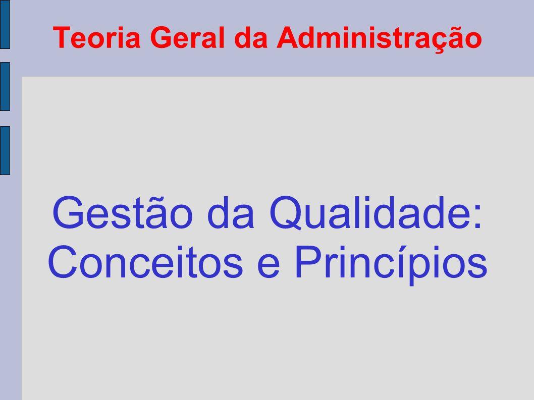 Teoria Geral da Administração Gestão da Qualidade: Conceitos e Princípios