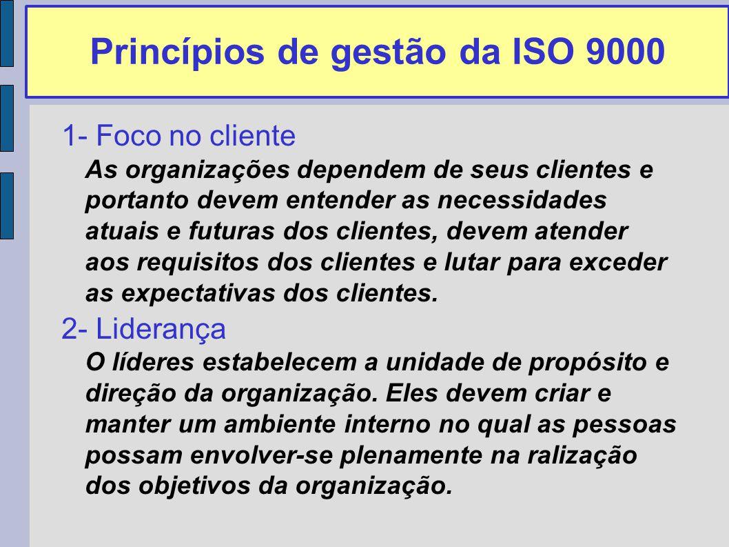 Princípios de gestão da ISO 9000 1- Foco no cliente As organizações dependem de seus clientes e portanto devem entender as necessidades atuais e futuras dos clientes, devem atender aos requisitos dos clientes e lutar para exceder as expectativas dos clientes.
