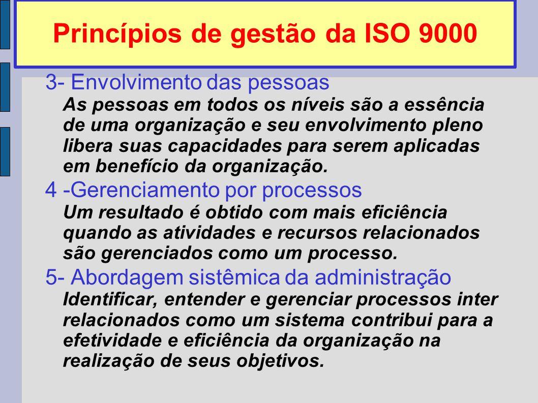 Princípios de gestão da ISO 9000 3- Envolvimento das pessoas As pessoas em todos os níveis são a essência de uma organização e seu envolvimento pleno libera suas capacidades para serem aplicadas em benefício da organização.